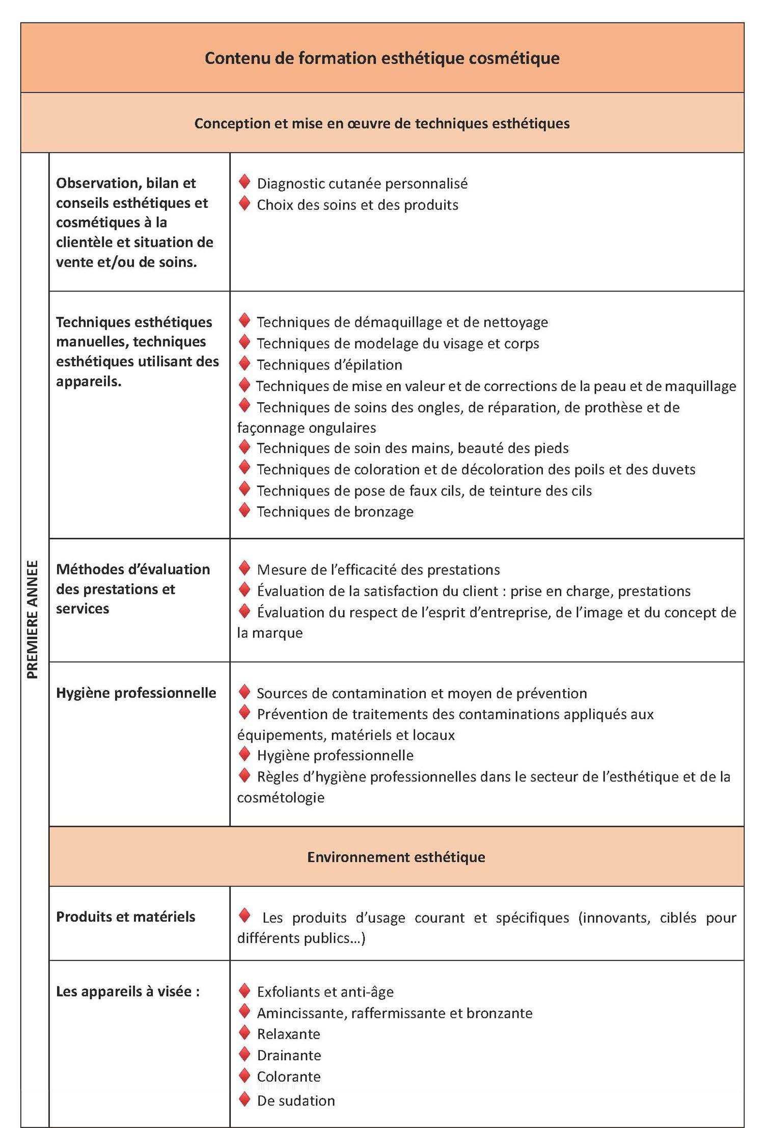 Haut du catalogue de formation d'esthétique, en français